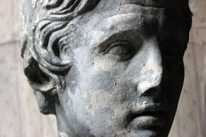 An Early/Mid 20thC Oversized Painted Plaster Portrait Bust of Alexander the Great