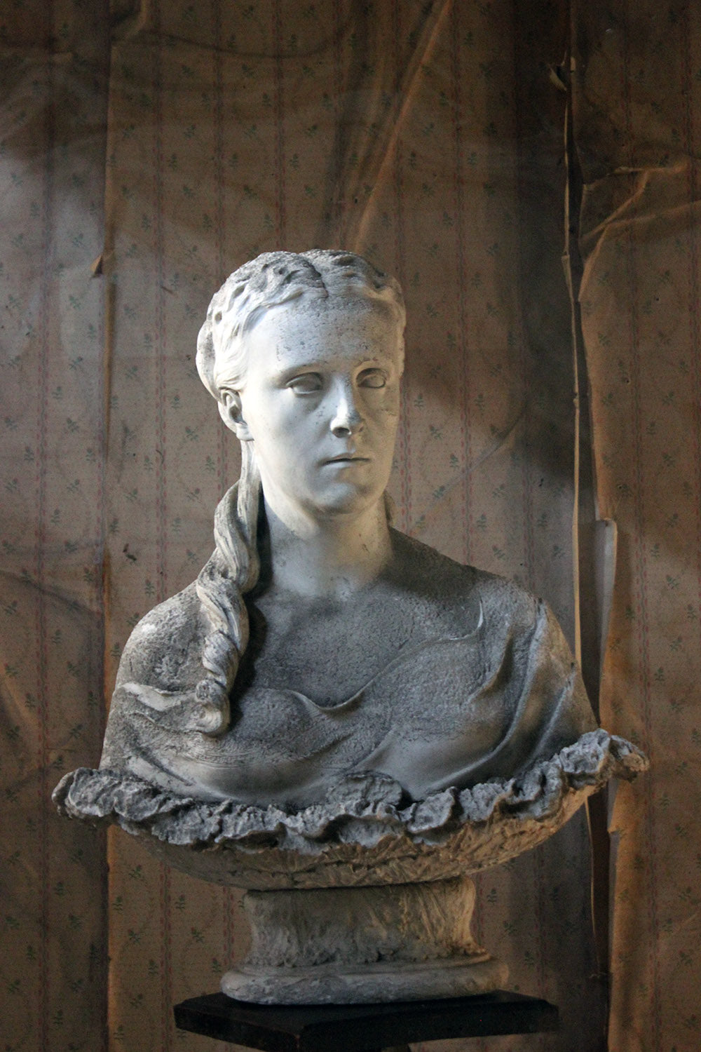 A Plaster Portrait Bust of a Maiden in the Style of Clytie c.1870-1900