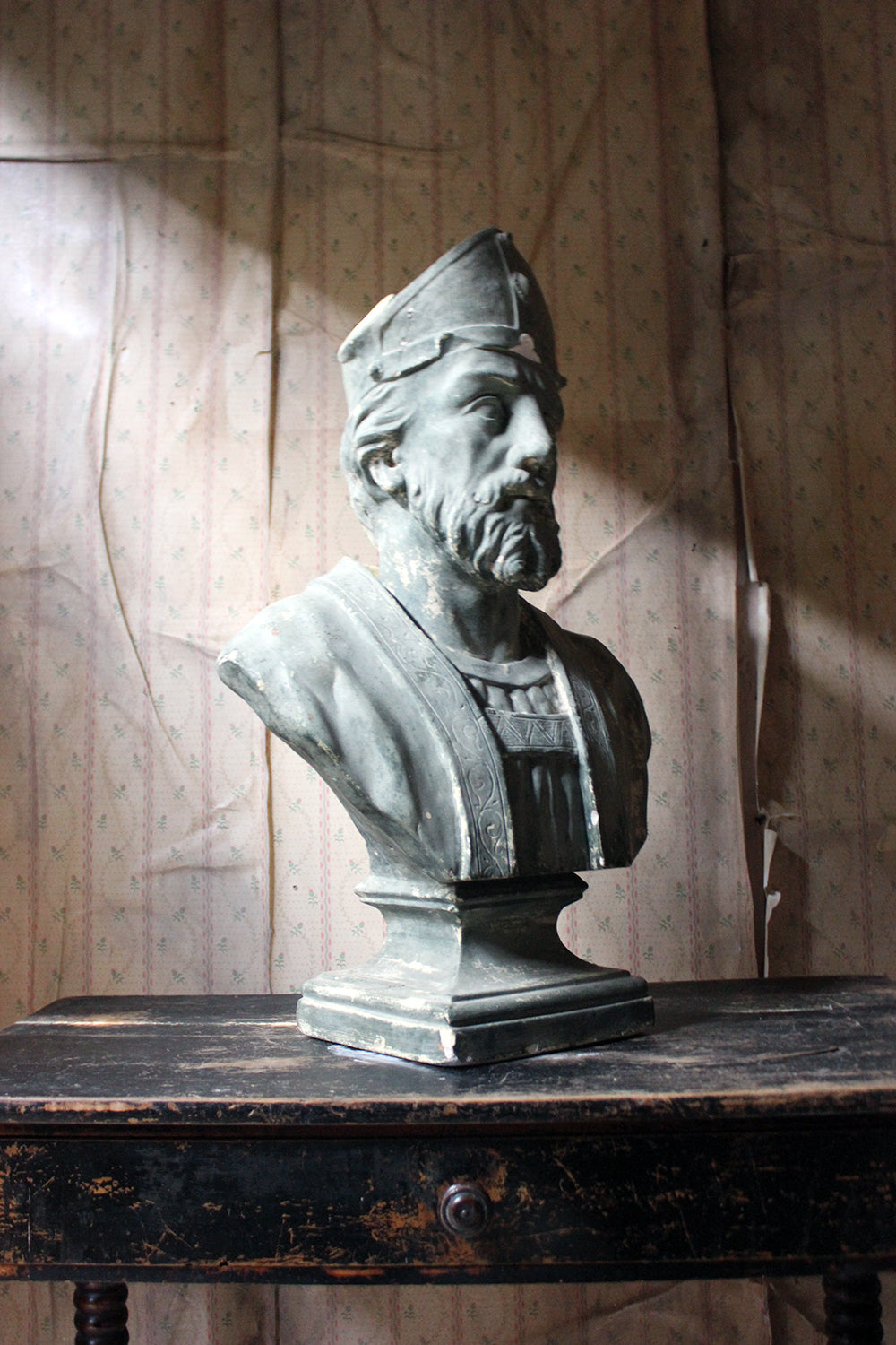 A Large 19thC Painted Plaster Portrait Library Bust of St. Patrick; Ex Milford House