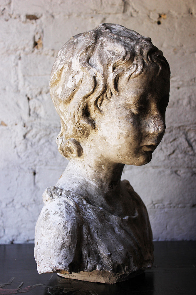 A Decorative 20thC Portrait Studio Plaster Bust of a Young Boy
