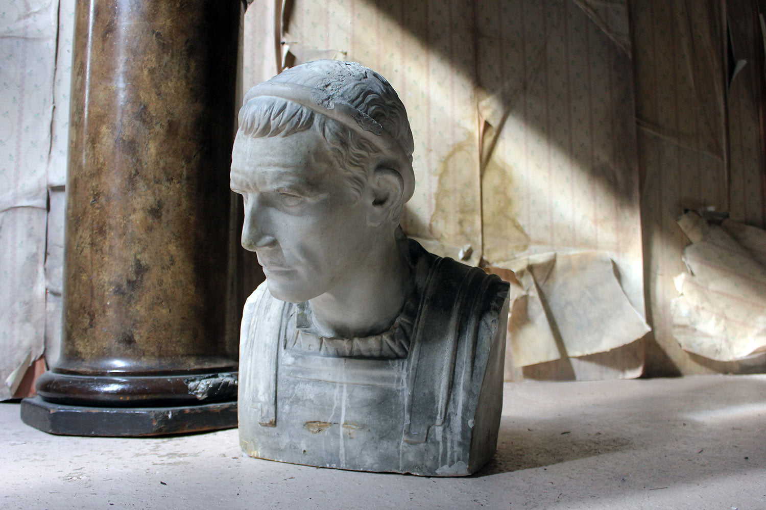 A 19thC Painted Plaster Portrait Bust of Julius Caesar c.1880