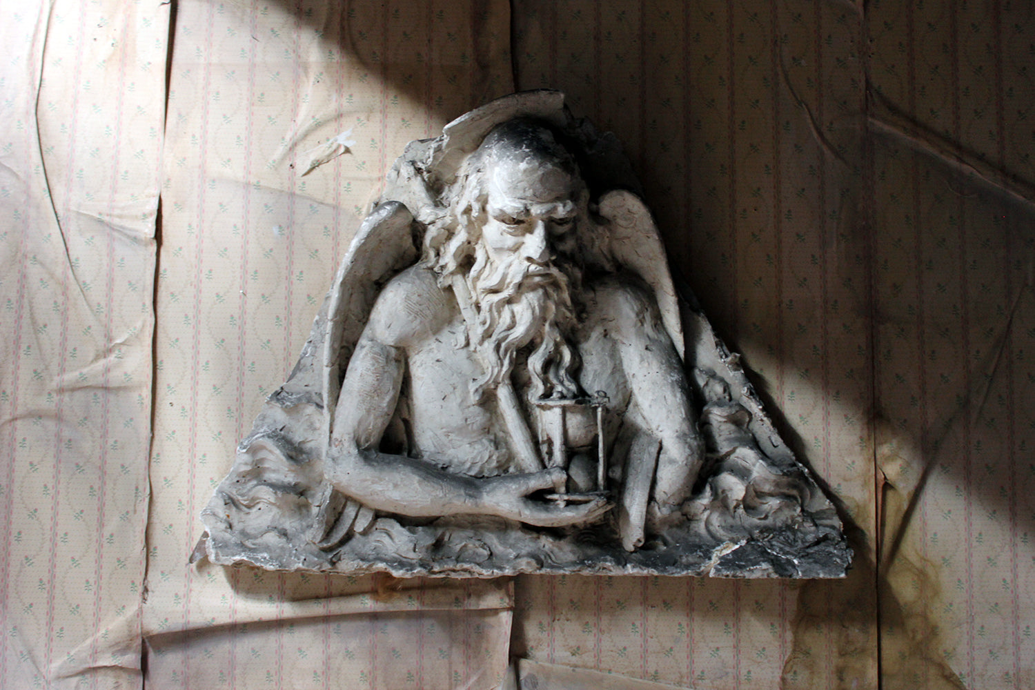 A 19thC French Monastery Sculpted High Relief Plaster Frieze Depicting Father Time c.1870