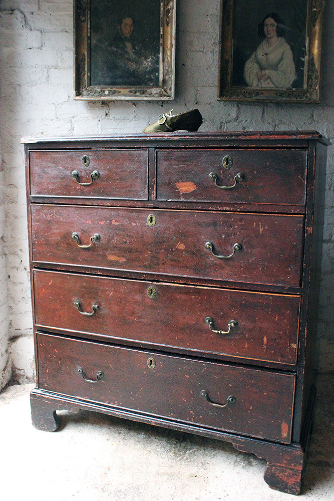 A Fabulous Large George III Plum Painted Pine Chest of Drawers c.1780