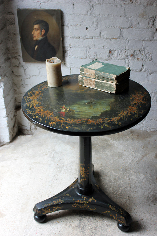 An Early Victorian Japanned Papier-Mâché Pedestal Table c.1840