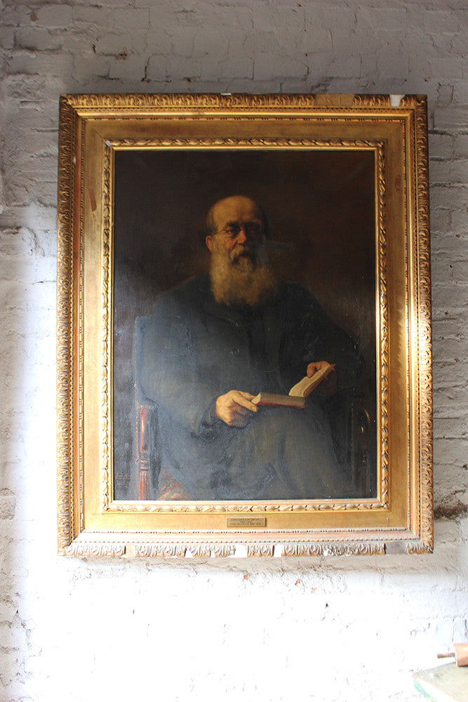 Ambrose Dudley; A Large English School c.1891 Gilt Framed Oil on Canvas Portrait of John Harrison Foster 1818-1905