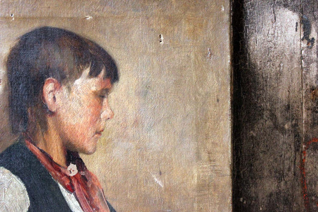 Percy Bedford; An Oil on Canvas Portrait of a Boy c.1893