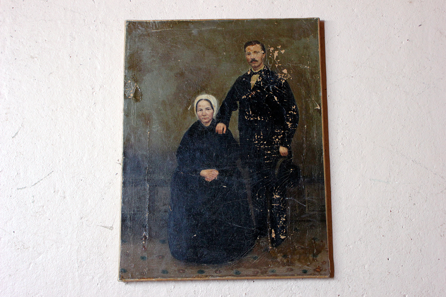 A 19thC English Provincial School Oil on Canvas Portrait of a Gentleman & His Wife