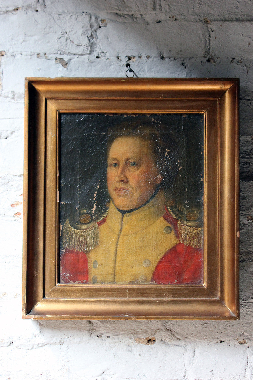 A Good Continental Provincial School Oil on Canvas Portrait of an Military Officer c.1800-1810