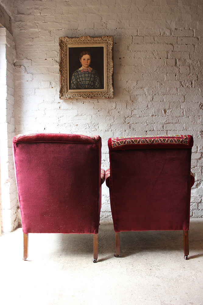A Near Pair of Comfortable Early 20thC Moquette Carpet Upholstered Armchairs c.1900-15
