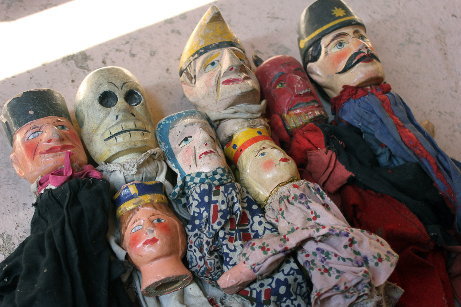 A Group of Seven Late 19thC English Folk Art Punch & Judy Finger Puppets