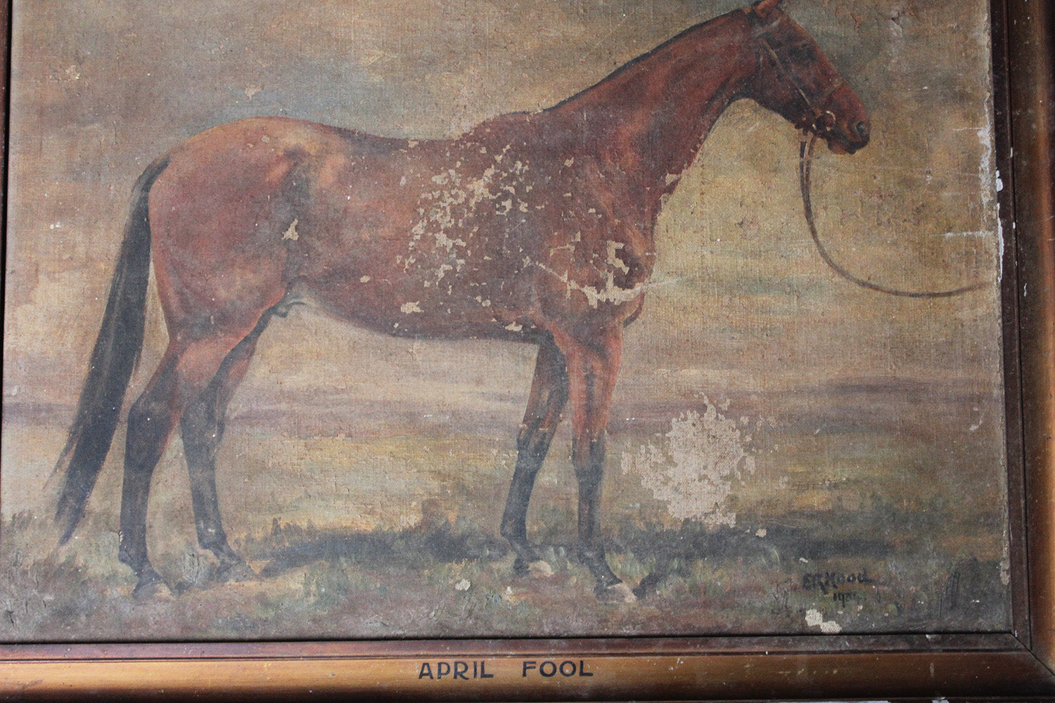 "An Early 20thC English School Oil on Canvas Study of Race Horse ""April Fool"" by E.R. Hood 1934"