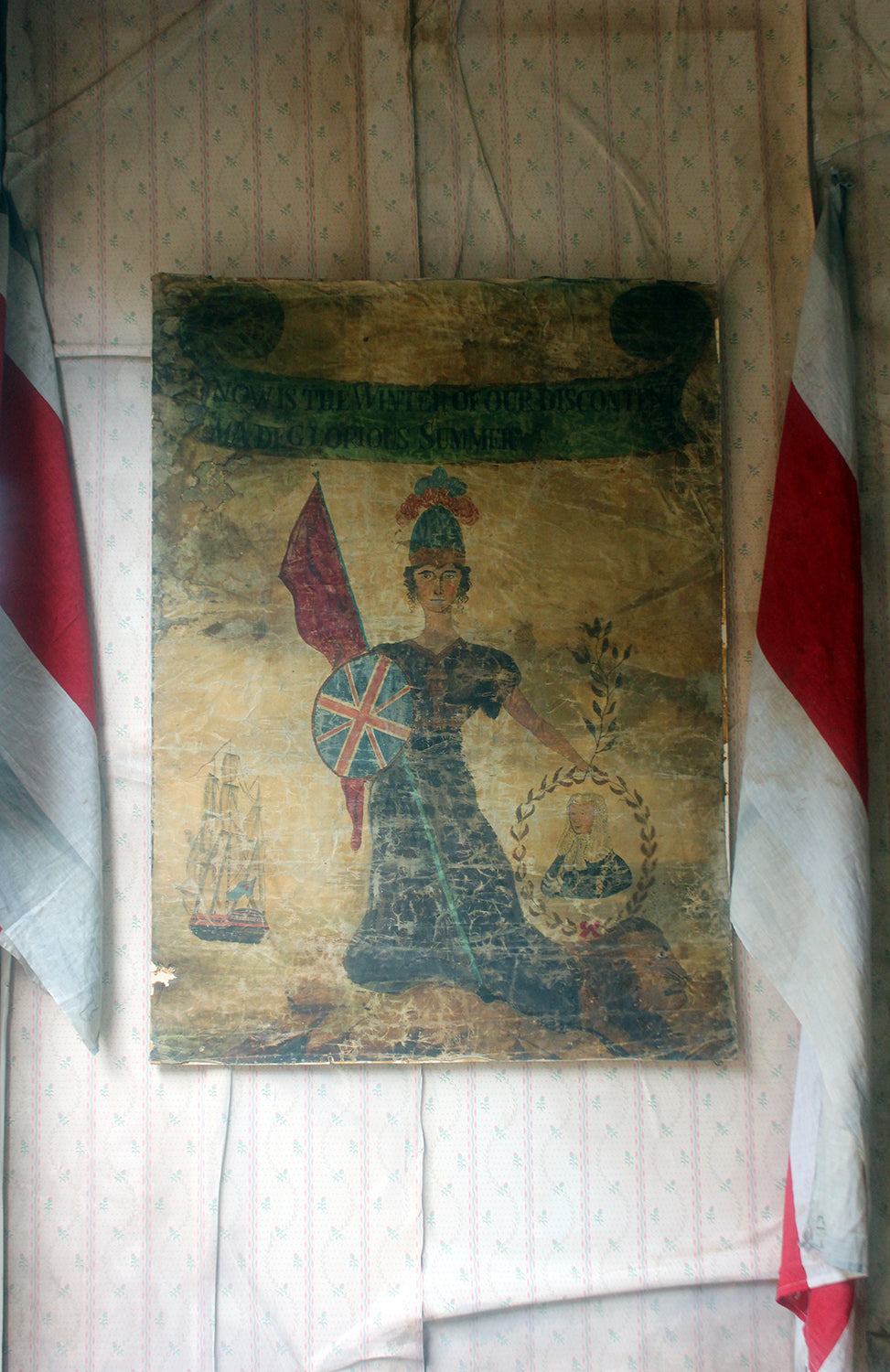 A Large & Rare Oils on Linen English Provincial School Political Reform Act Banner c.1832