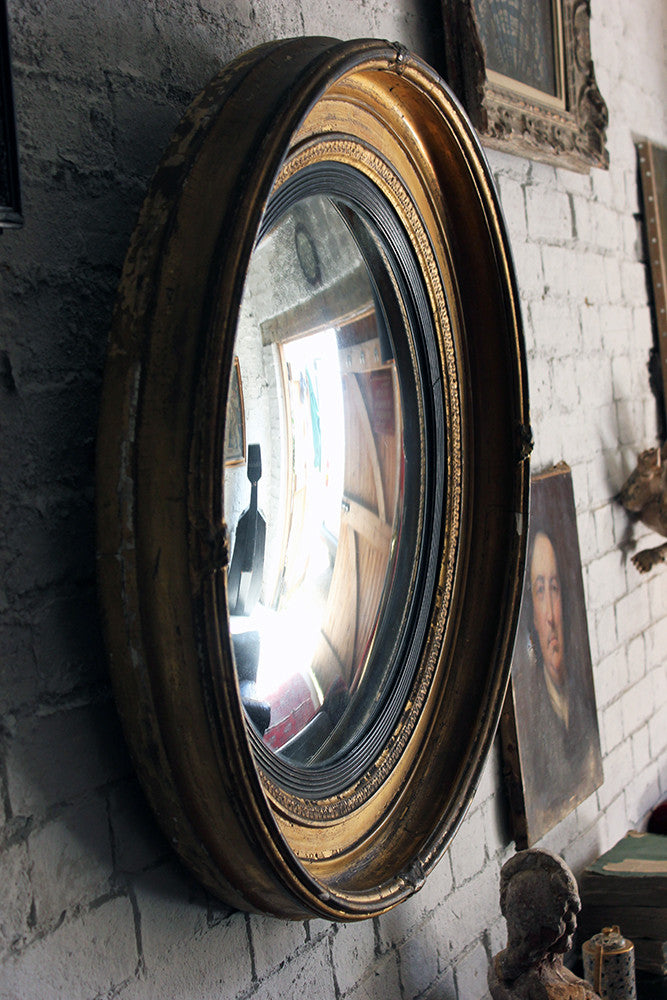 A Marvellous Regency Period Giltwood & Gesso Convex Wall Mirror c.1820