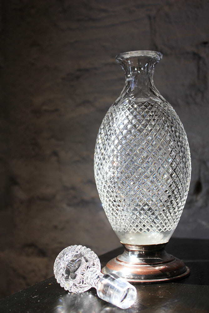A Fine Regency Cut Glass & Silver Plate Decanter c.1810