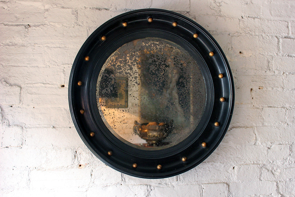 A Good Regency Period Ebonised & Gilt Circular Wall Mirror c.1820