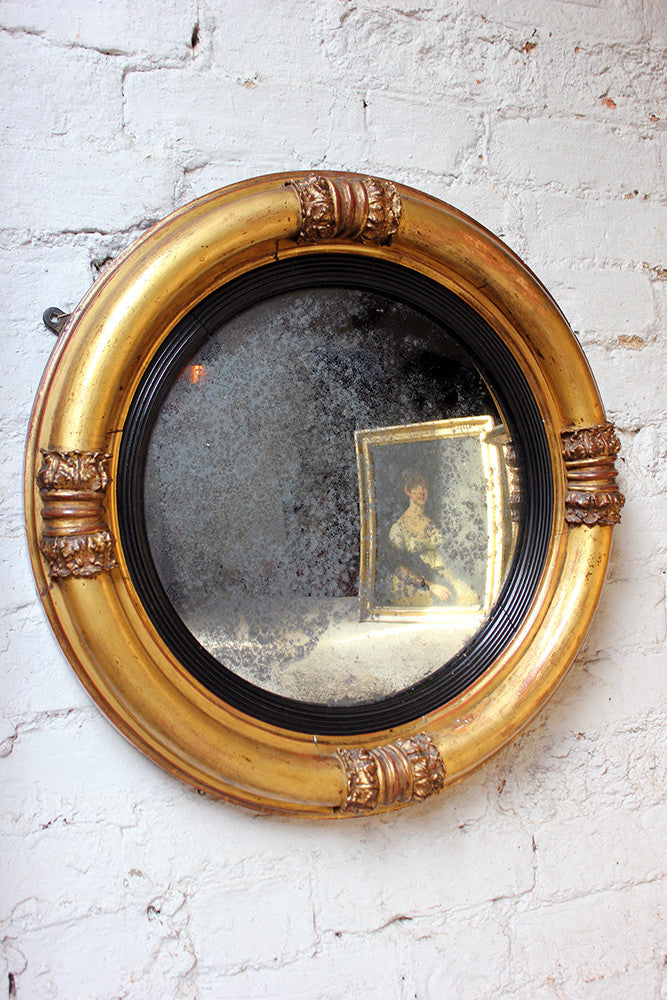 A Good Regency Period Giltwood & Gesso Convex Wall Mirror c.1825