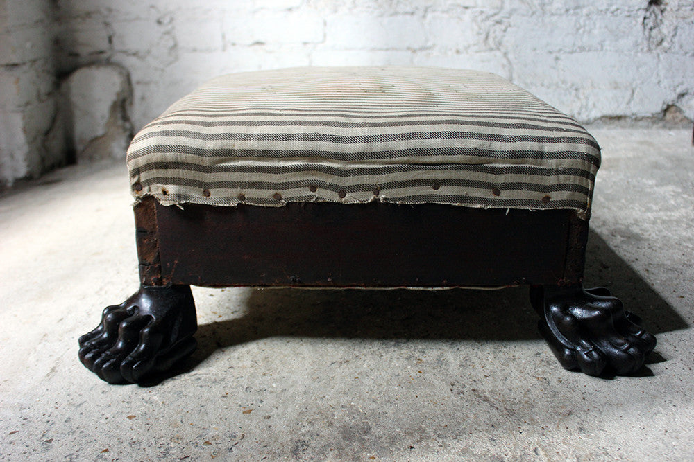 A Magnificent Regency Period Mahogany Lion's Paw Footed & Ticking Upholstered Stool c.1810-15
