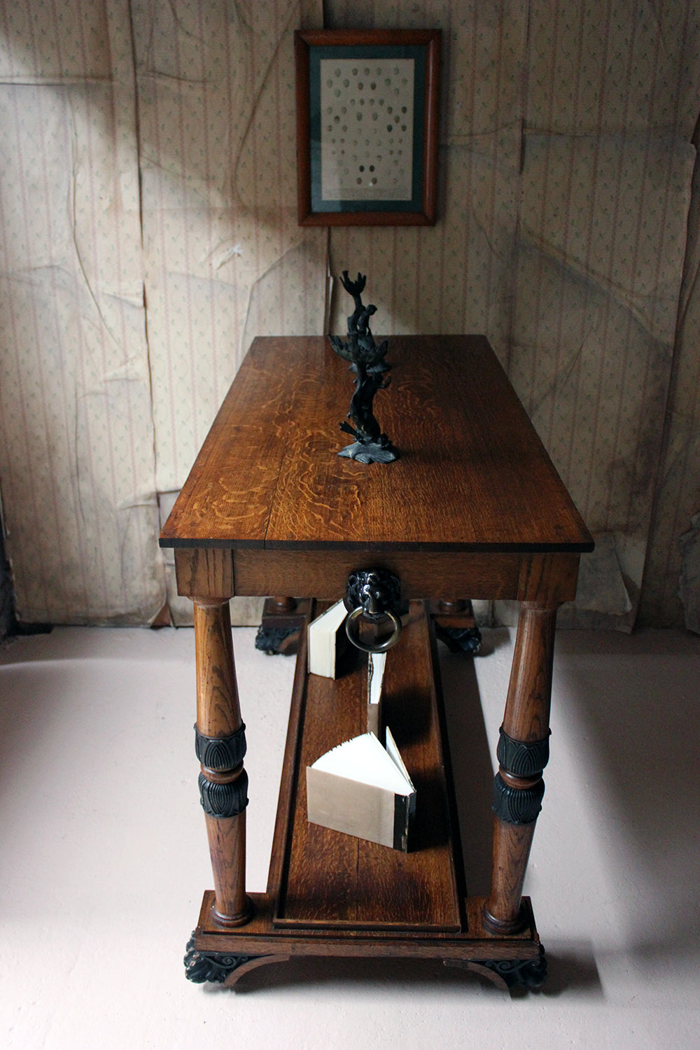 A Late Regency Period Golden Oak & Ebonised Library Table c.1820-25