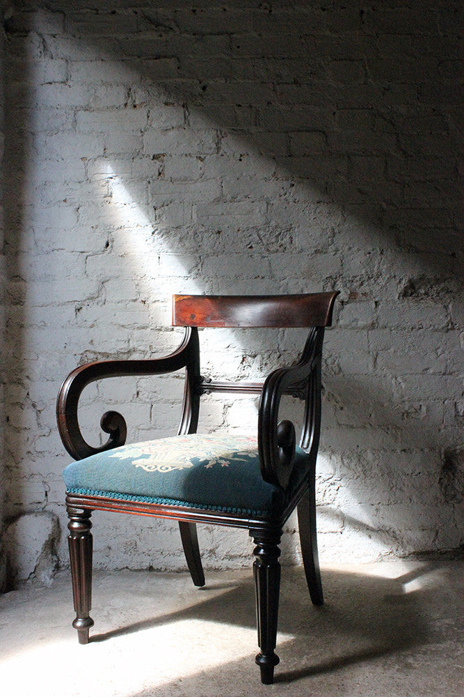 A Handsome Late Regency Period Mahogany Open Armchair c.1825