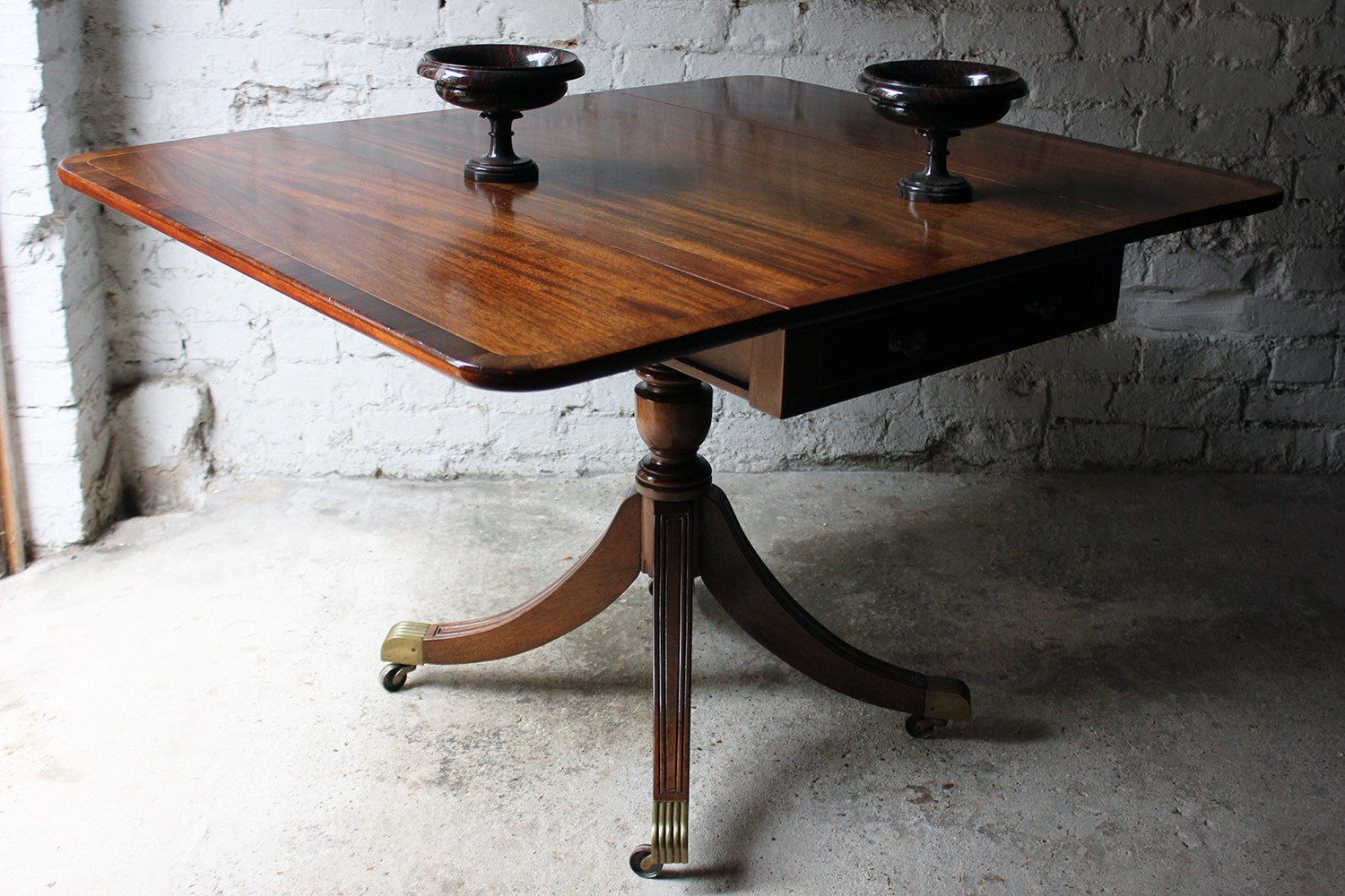 A Good Regency Period Inlaid Mahogany Pedestal Pembroke Table c.1825