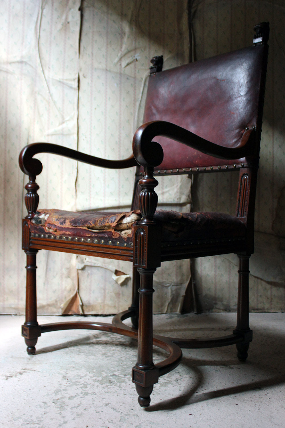 A Late 19thC Regency Revival Mahogany & Leather Library Armchair