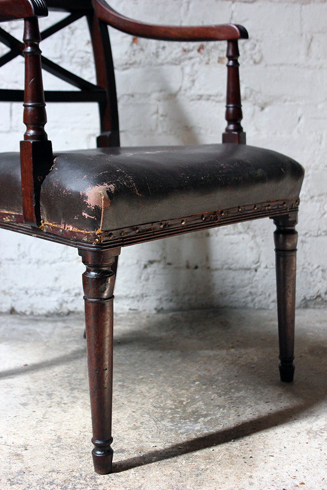 An Elegant Regency Mahogany & Rexine Upholstered Rope-Twist Back Elbow Chair c.1810-15
