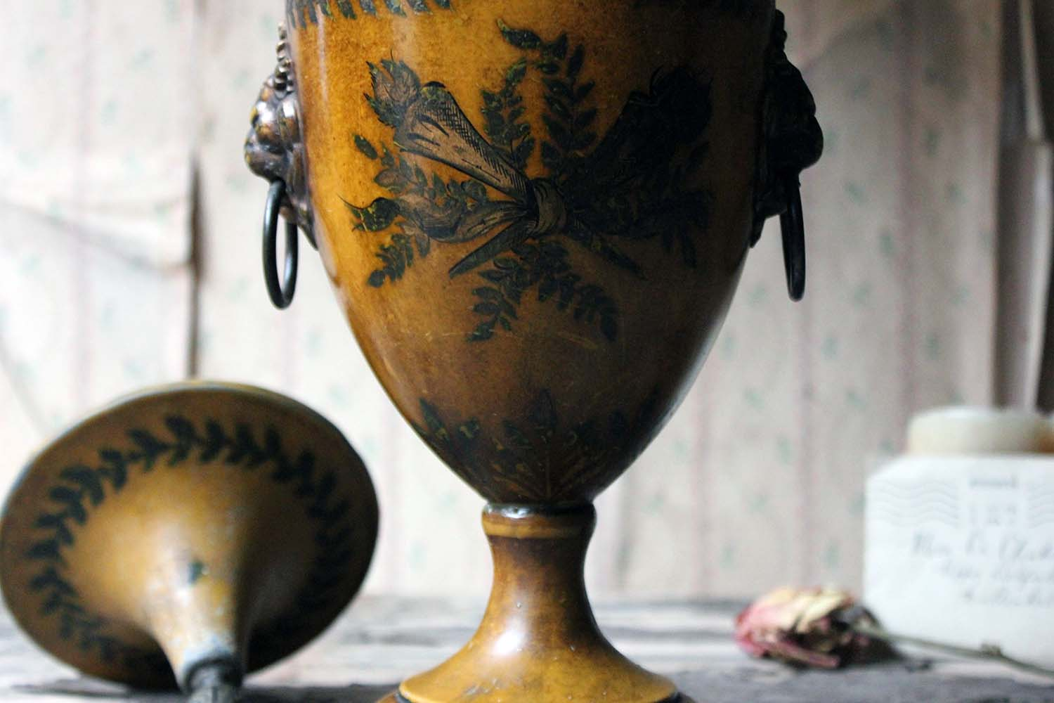 A Regency Period Hand-Painted Toleware Chestnut Urn & Cover c.1810-20