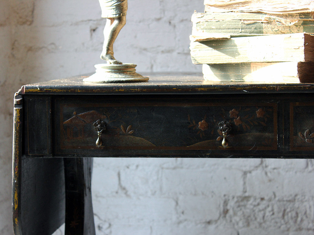 An Elegant Regency Black Japanned & Gilt Chinoiserie Decorated Sofa Table
