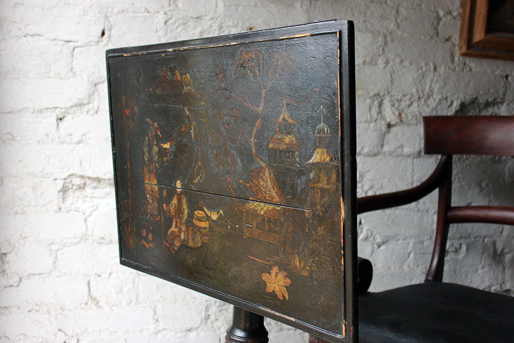 A Pretty Regency Black Japanned & Chinoiserie Decorated Tripod Table c.1815