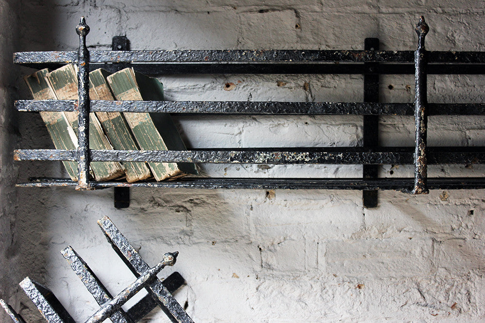A Fabulous Set of Three Large Regency Period Black Painted Cast Iron Window Boxes c.1820