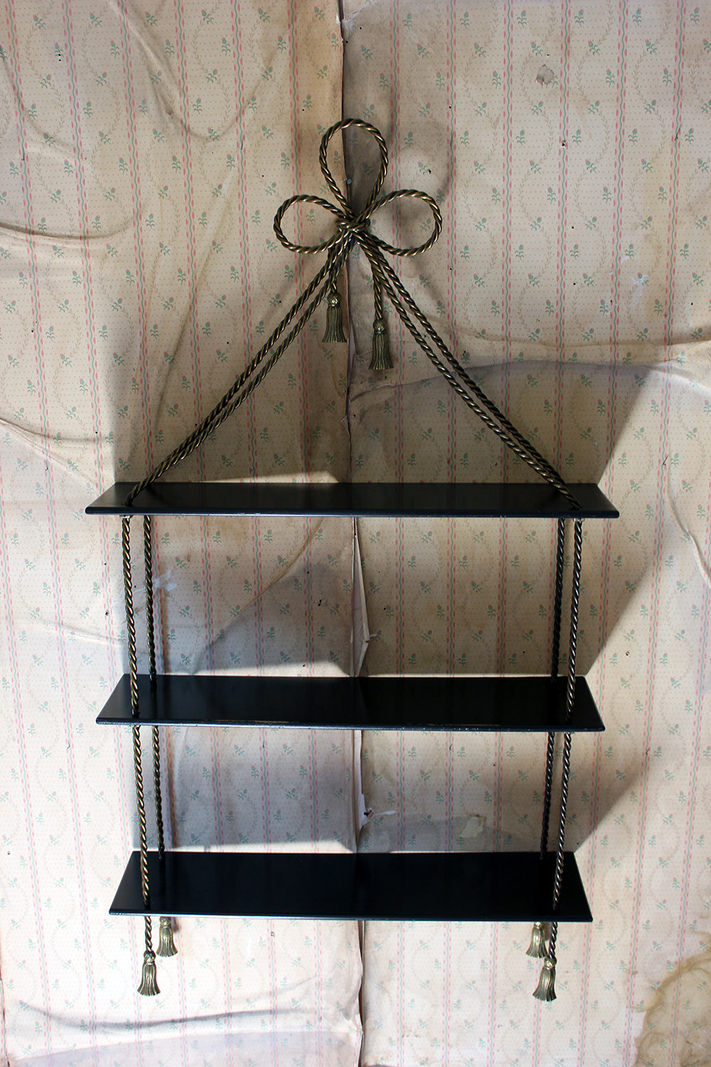 An Unusual Mid-20thC Ebonised & Gilt-Metal Wall Shelf