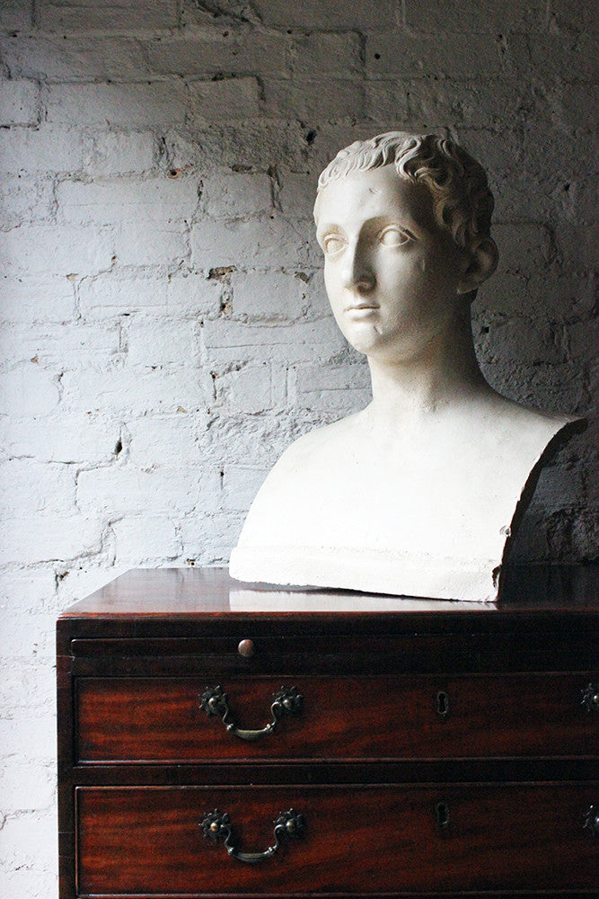 A Decorative c.1900 Classical Plaster Portrait Bust of a Roman Gentleman