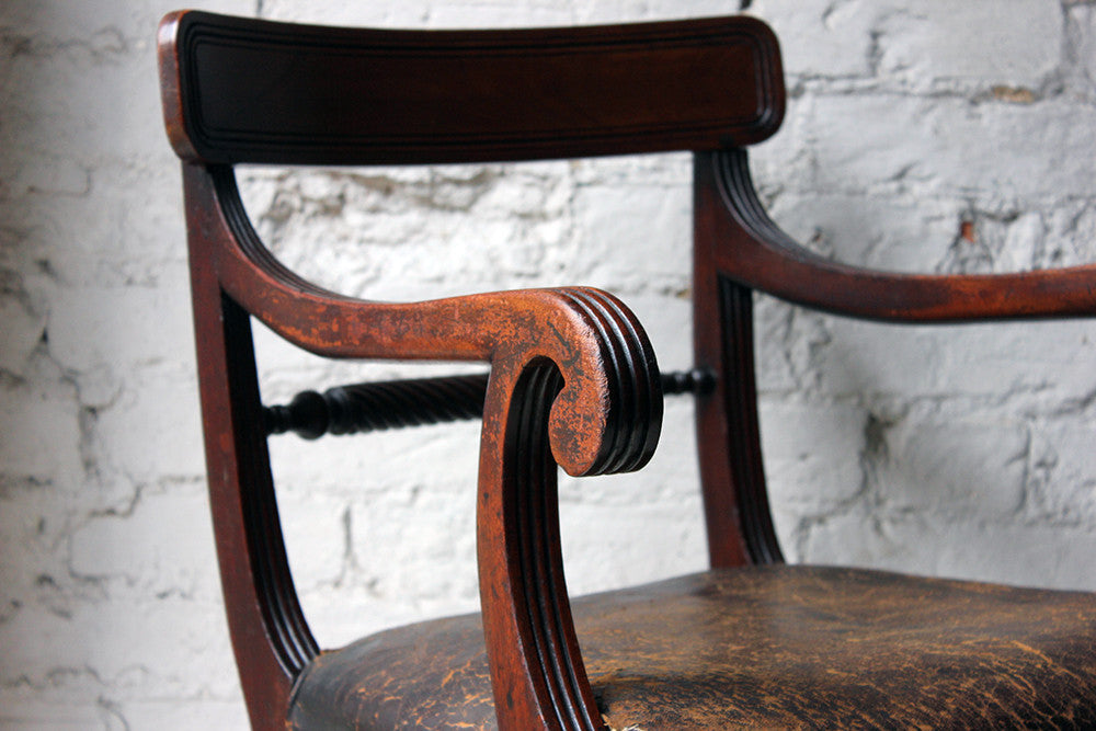 A Fine Regency Mahogany & Leather Upholstered Rope-Twist Back Elbow Chair c.1815