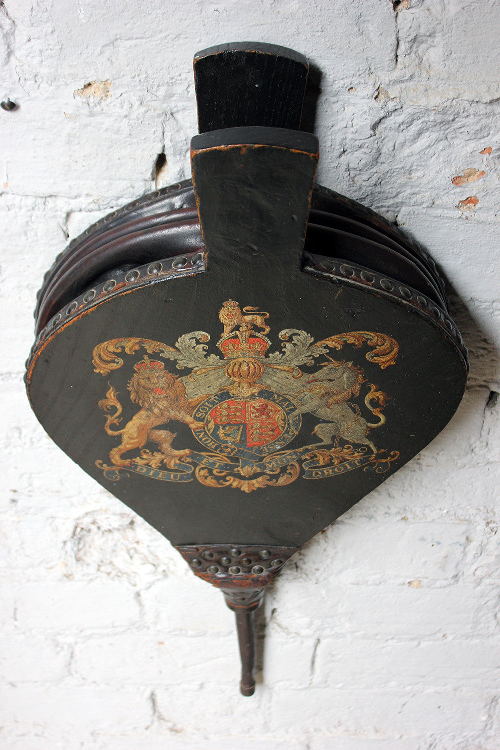 A Very Decorative 19thC Polychrome Painted Studded Leather Bound Pair of Bellows, Bearing The Royal Coat of Arms c.1870-80