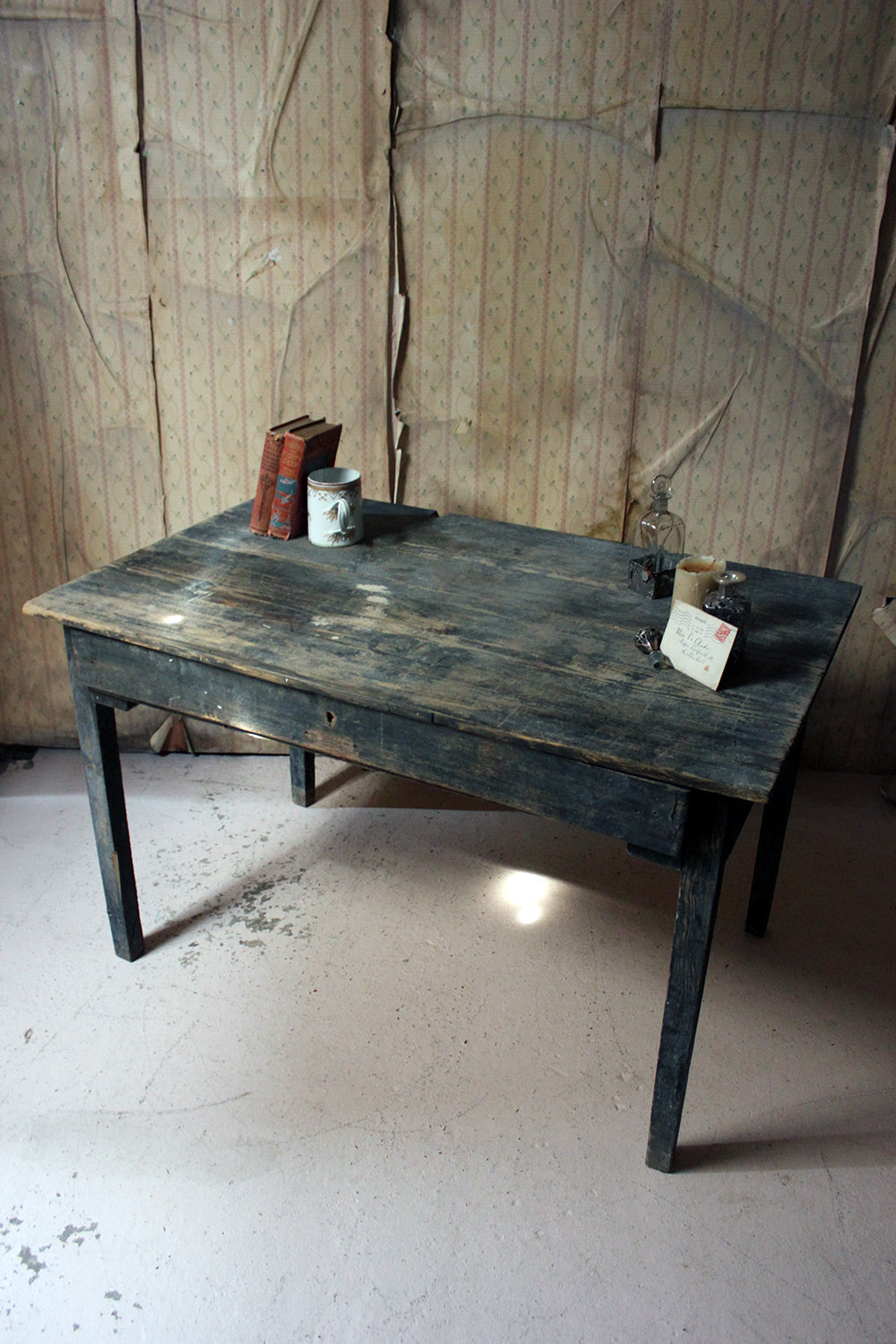 A Rustic Provincial Black Painted French Pine Farmhouse Table c.1900