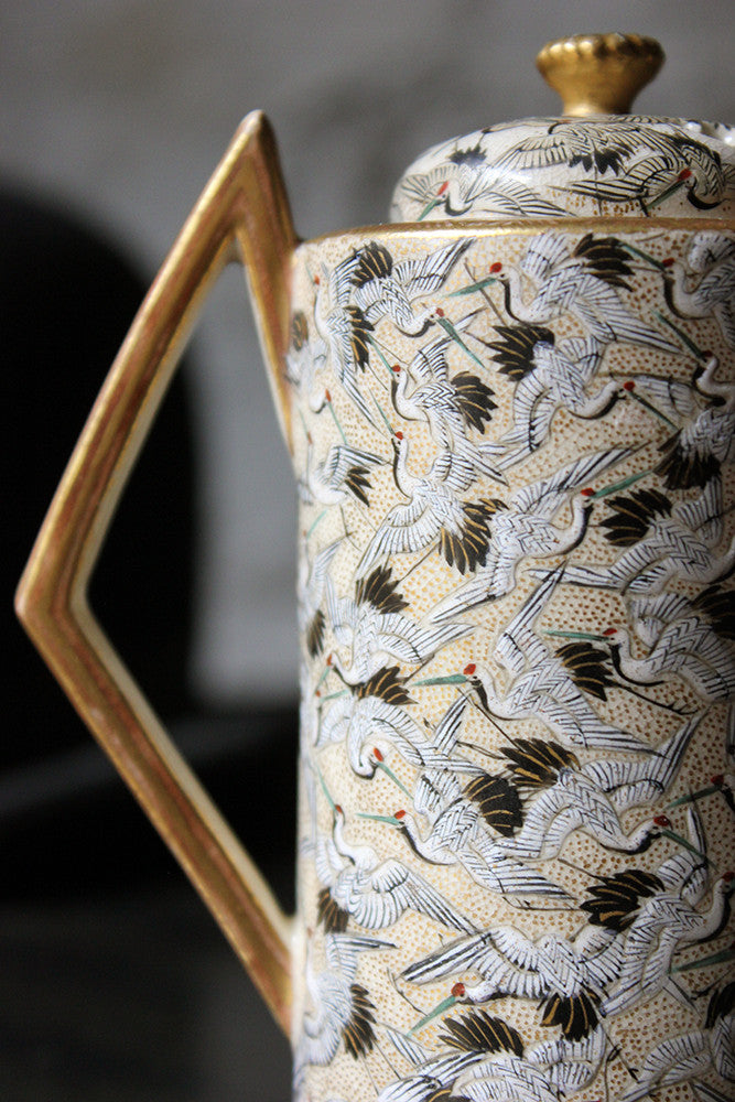 An Attractive c.1920 Art Deco Period Japanese 'Thousand Cranes' Pottery Vase & Cover