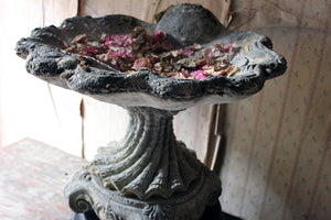 A Mid-20thC Cast Composition Stone Scallop Shell Bird Bath