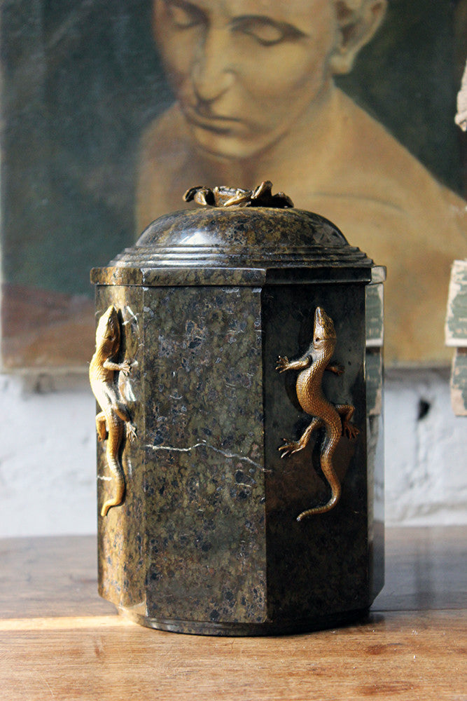 An Unusual c.1895 Serpentine & Bronze Mounted Jar & Cover