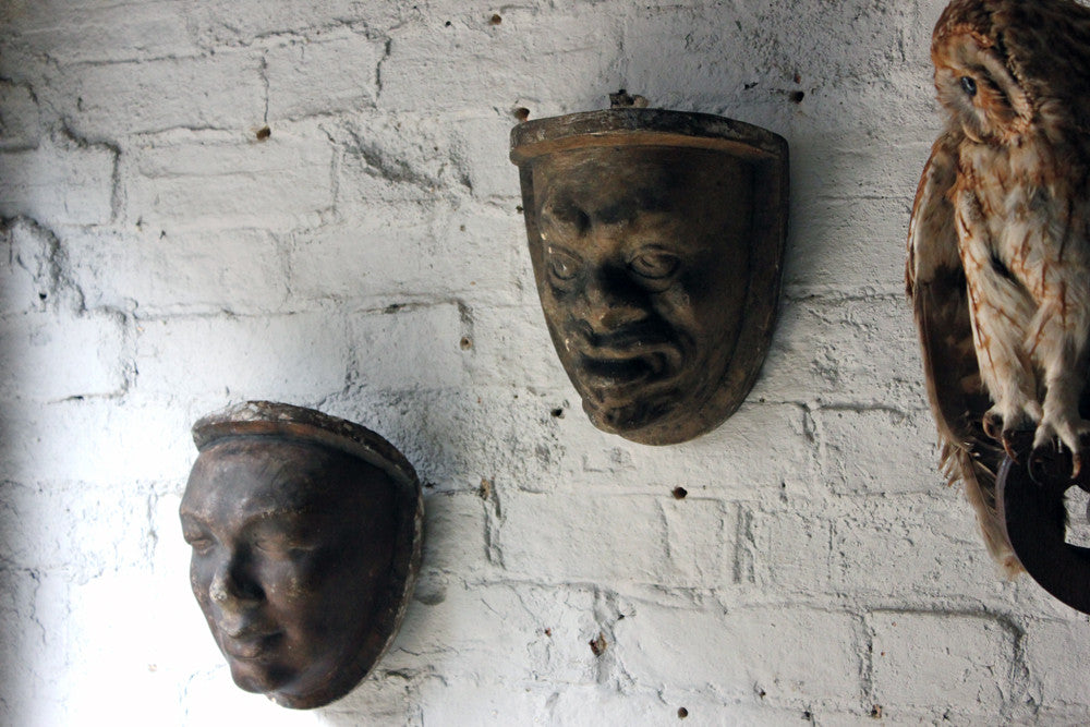 An Unusual Pair of c.1780s Plaster Wall Sconce Life Masks of Servants from Chateau Serris, France