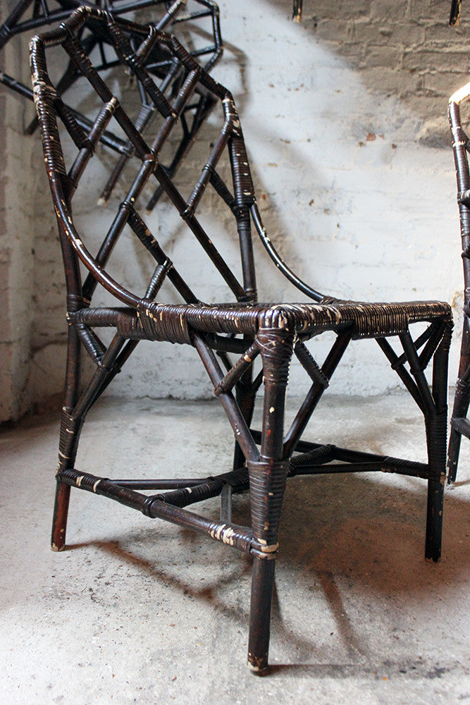 A Fine Set of Six Cane Chinese Chippendale Cockpen Edwardian Conservatory Chairs by Dryad c.1915