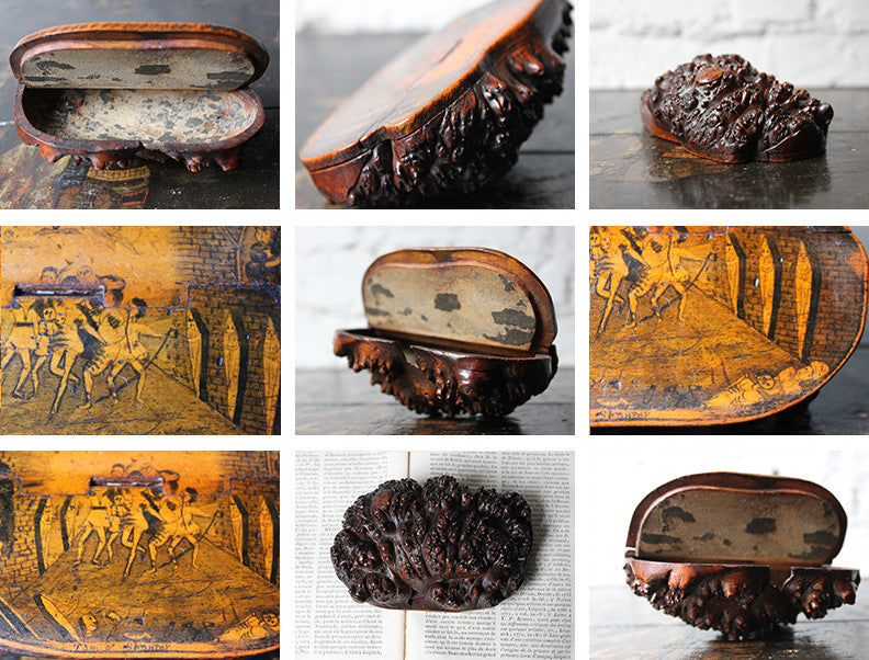 A Charming c.1820 Pen & Ink Naively Decorated Scottish Burr Root Wood Snuff Mull; 'Tam o'Shanter'