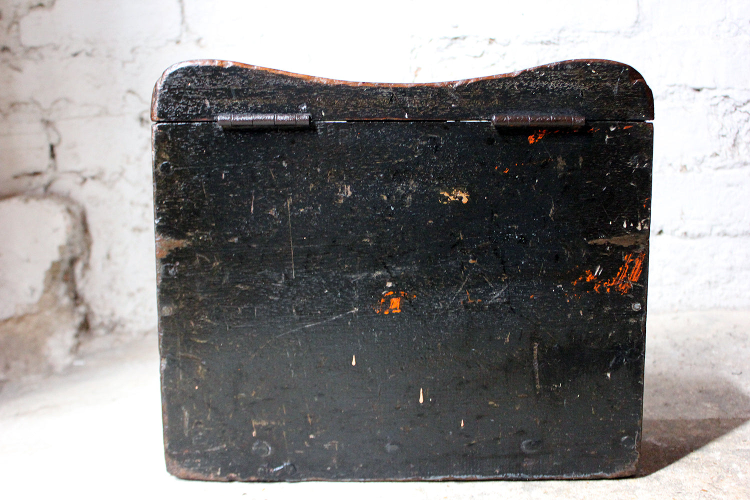 A Scarce Black Painted English Oak Shipwright's Caulking Tool Box c.1880