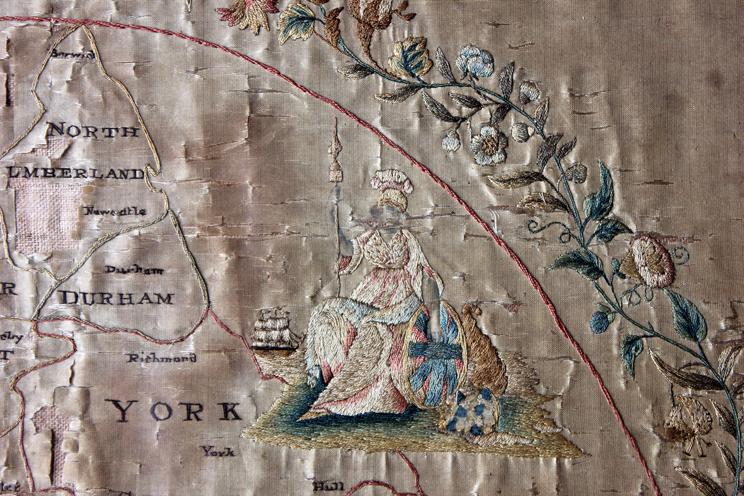 Map Of England 1800.A Very Pretty Early 19thc Embroidered Silkwork Map Picture Of