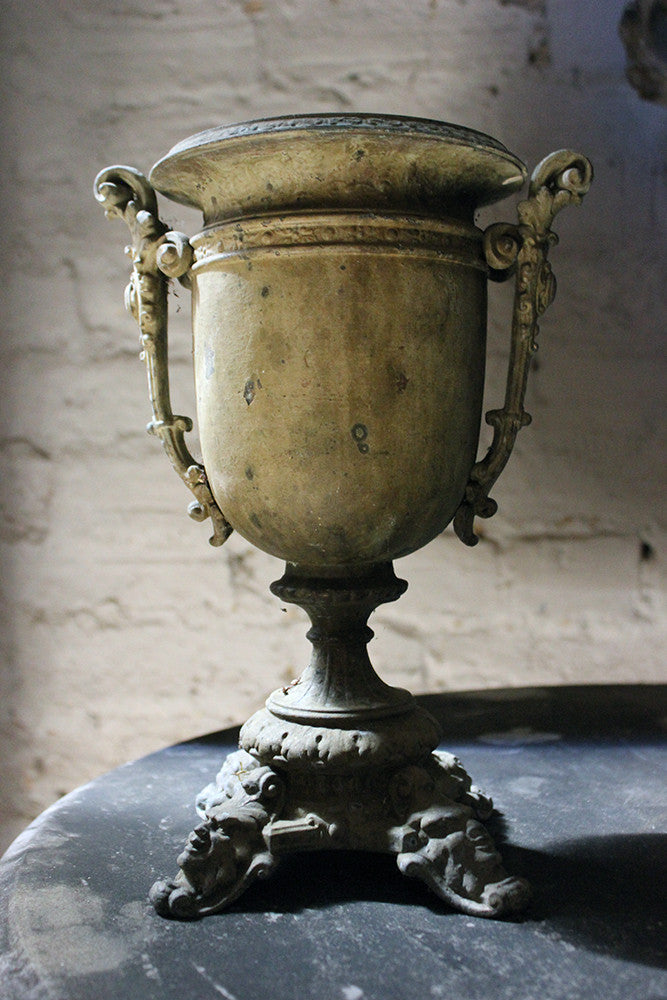 A Pretty French Verdigris Patinated Copper Campana Urn c.1900