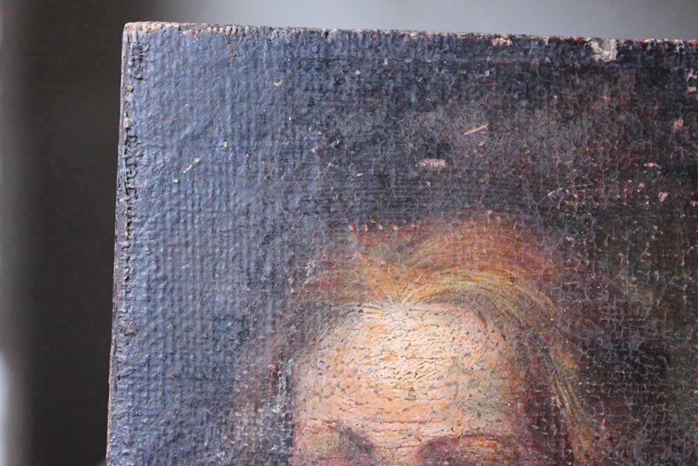 A Small 18thC Oil Portrait of a Young Girl