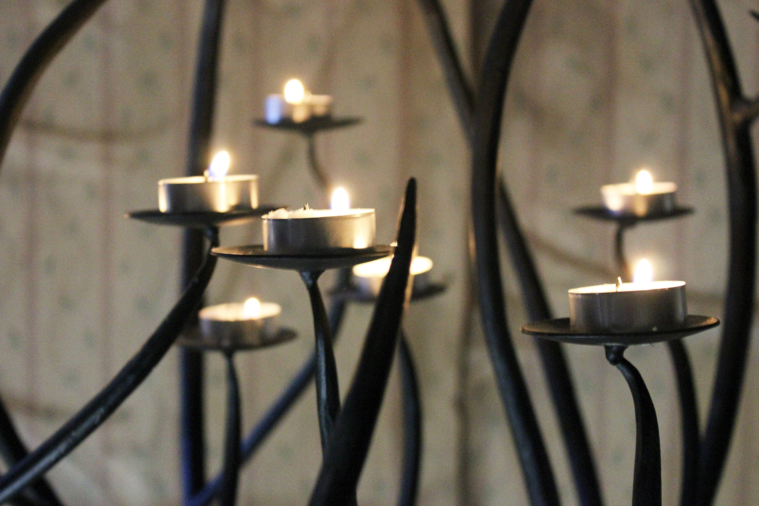 A Large 20thC Black Wrought Iron Floor-Standing Ten-Sconce Sphere Candelabra