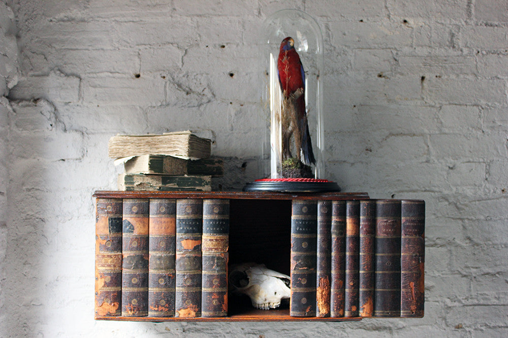 An Unusual George III Oak & Book-Spine Mounted Wall Cupboard