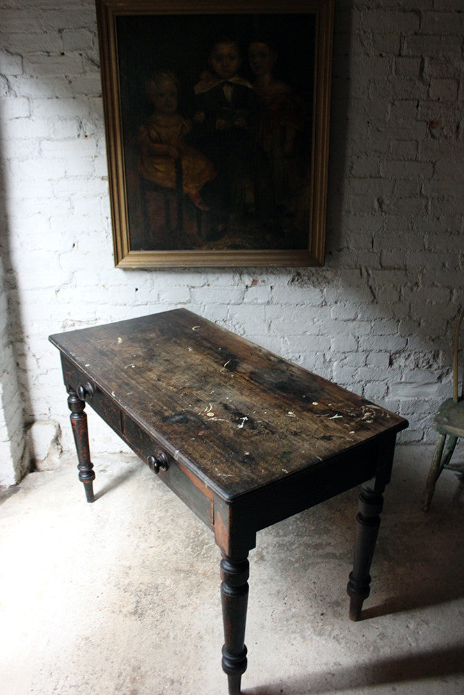 A Decorative Black-Painted Pine Serving Table c.1840-60