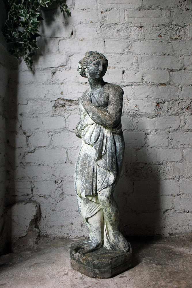 An Attractive Late 19thC Faux Lead Painted Stone Statue of The Capitoline Venus