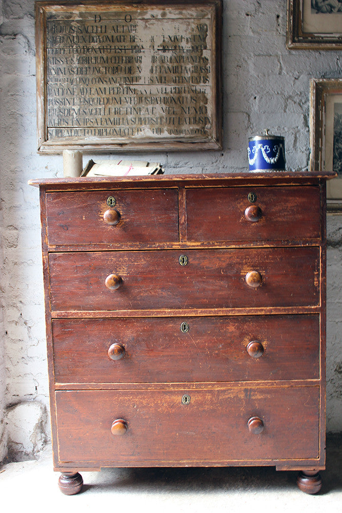 A Good Quality Mid-Victorian Stained Pine Chest of Drawers c.1870